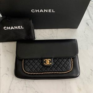 Chanel Unchained Leather Clutch